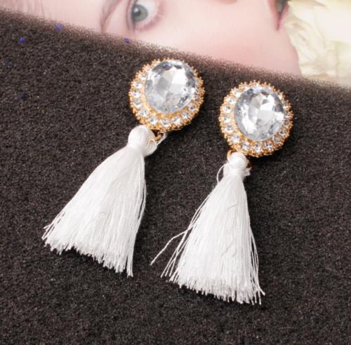 Fashion Women Ethnic Long Tassel Earrings Geometric Crystal Drop Dangle Earrings 12