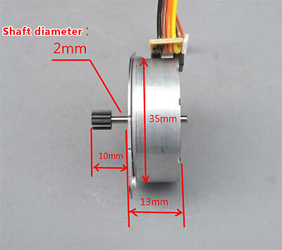 DC 5V 35mm Round Thin 2-phase 4-wire Stepper Motor Mini Stepping Motor +12T Gear 2