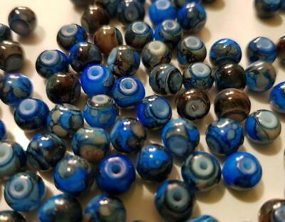 15 perles semi-précieuses gemmes AGATES DRAGON BLEU NUIT ET MARRON 6mm //5 3
