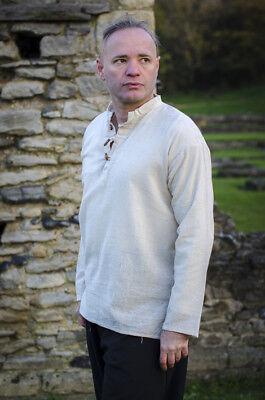 LARP-Cos-Play-Mens-Medieval-ARIA HIGH NECKED DRAWSTRING SHIRT All Mens Sizes