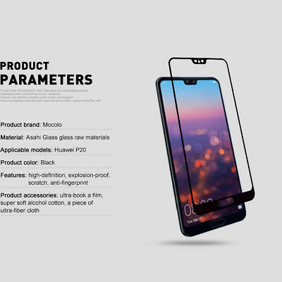 For Huawei P20 Pro Lite Premium Full Cover Tempered Glass Film Screen Protector 5