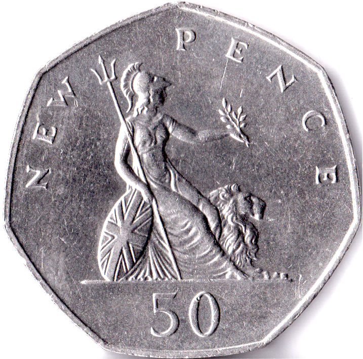 Circulated 50p 1969 - 2008 Fifty Pence Coin British Britannia Coins Large Small 2