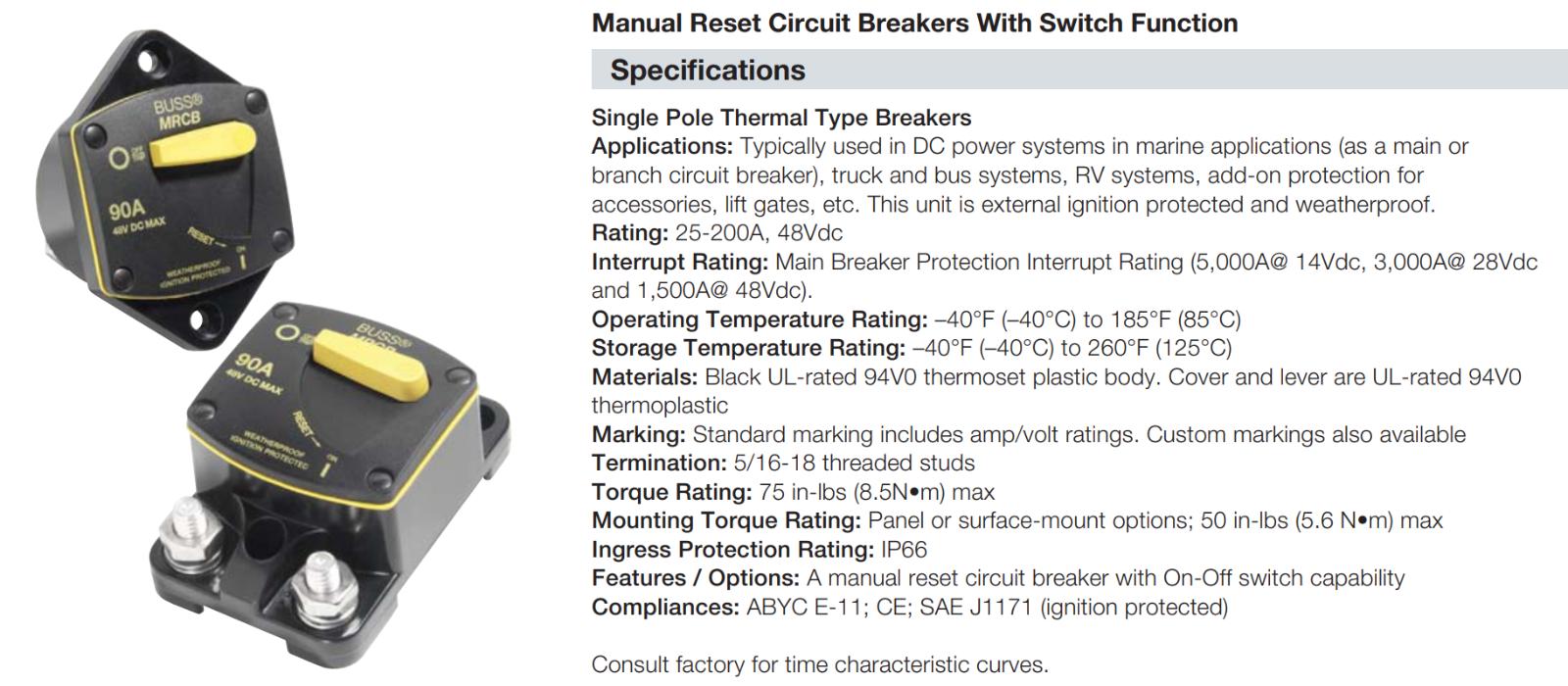Surface Mount 30 Amps BLUESEA//MARPAC Bussman 187 Series DC Circuit Breaker