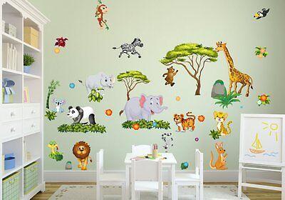 NIKIMA 060 WANDTATTOO Dschungel Tiere Löwe Elefant Giraffe ...