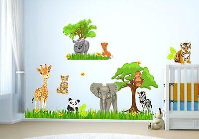 Nikima 088 Wandtattoo Baby Tiere Safari Dschungel Savanne