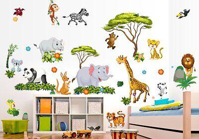 Nikima 060 Wandtattoo Dschungel Tiere Lowe Elefant Giraffe Kinderzimmer Safari Eur 19 99 Picclick De