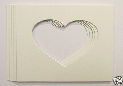 """Pack of 5, 7x5 Heart Shaped Photo Mounts to Fit 10""""x8"""" frames 2"""