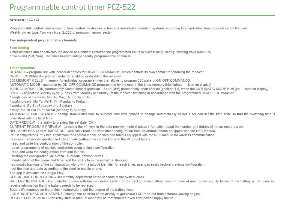 F&F Pcz-522.3 Programmierbare Digitale Zeitschaltuhr 24V ÷ 264V Ac/Dc 2× 16A 4