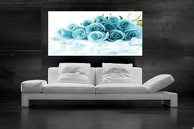 BLUE ROSE CANVAS ART PRINT DUCK EGG FLORAL FLOWERS WALL ART FLO27