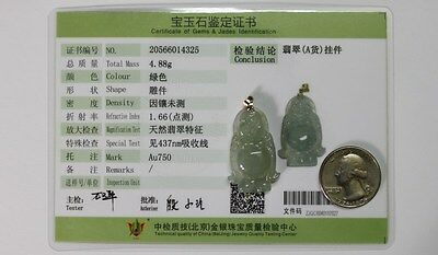 18K Natural JADE Certified (Grade A) Beautiful Icy Jadeite Small Buddha Pendant 12