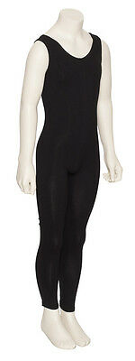Girls Children Black Cotton Sleeveless Footless Catsuit Unitard KDC056 By Katz 3