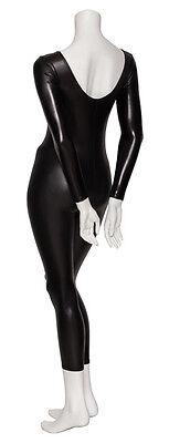 Black Shiny Metallic Dance Fancy Dress Long Sleeve Catsuit KDC017 By Katz 4
