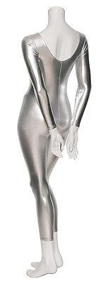 Argento Lucido Metallizzato Costume Ballo In Maschera Tutina A Maniche Lunghe 6