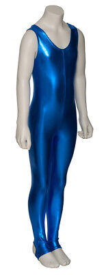 Royal Blue Shiny Metallic Dance Catsuit Unitard Katz Dancwear KDC011 SECONDS 3