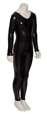 Black Shiny Metallic Dance Fancy Dress Long Sleeve Catsuit KDC017 By Katz 5