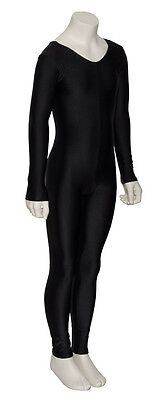 Girls Ladies Black Lycra Long Sleeve Footless Catsuit Unitard All Sizes KDC017 9