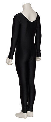 Girls Ladies Black Lycra Long Sleeve Footless Catsuit Unitard All Sizes KDC017 10