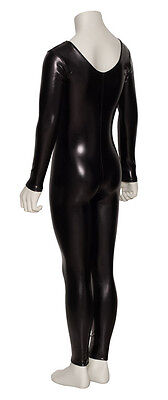Black Shiny Metallic Dance Fancy Dress Long Sleeve Catsuit KDC017 By Katz 6