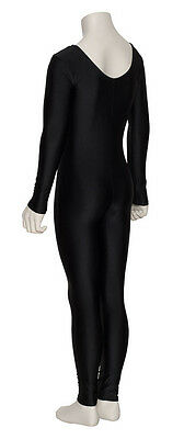 Girls Childrens Black Lycra Long Sleeve Footless Catsuit Unitard KDC017 By Katz 2