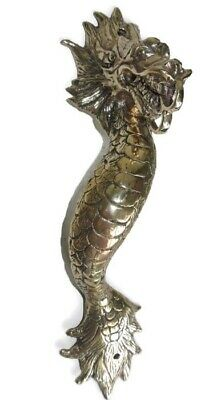 """2 Dragon door pull 30 cm POLISHED brass vintage old style house handle 12"""" B 3"""