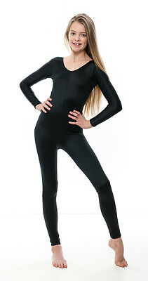 Girls Ladies Black Lycra Long Sleeve Footless Catsuit Unitard All Sizes KDC017 6