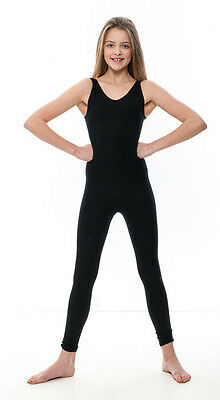 Girls Children Black Cotton Sleeveless Footless Catsuit Unitard KDC056 By Katz 2