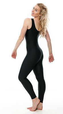 Ladies Girls Black Lycra Sleeveless Footless Catsuit Unitard KDC016 By Katz 2