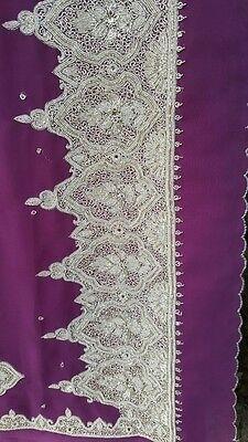 Indian Pakistani Bollywood Party Wedding Eid Diwa Purple Heavy Embroidered Sari 2