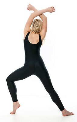 Ladies Girls Black Lycra Sleeveless Footless Catsuit Unitard KDC016 By Katz 3