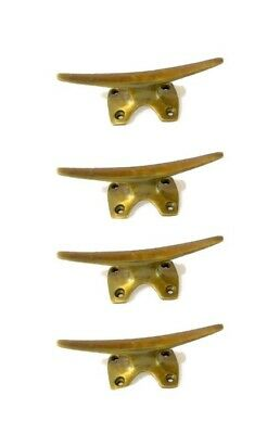 8 small CLEAT tie down heavy brass boats cars tieing rope hooks cast cleats B 8