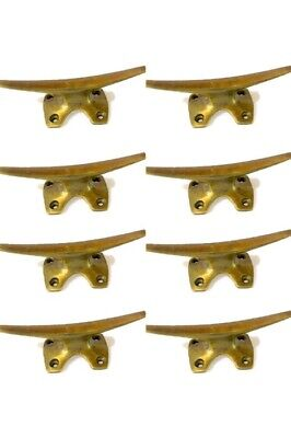 8 small CLEAT tie down heavy brass boats cars tieing rope hooks cast cleats B 9