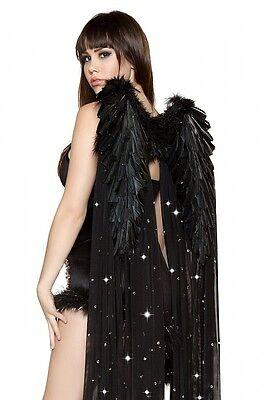 Schwarzer Engel Engelskostum Gr 36 38 Asymetrisch Kleid Fasching