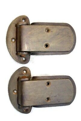 "4 large ICE BOX hinges vintage aged style solid Brass heavy offset restore 4"" B 7"