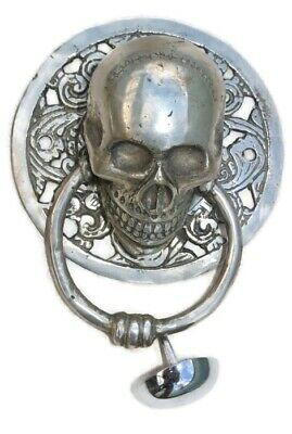 "round SKULL head ring pull Handle sILVER BRASS 4"" day of the dead door KNOCKER B 2"