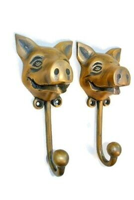 """4 heavy PIG HOOK WALL MOUNTED COAT old style solid brass BAG ANIMAL 6"""" HANGER B 9"""