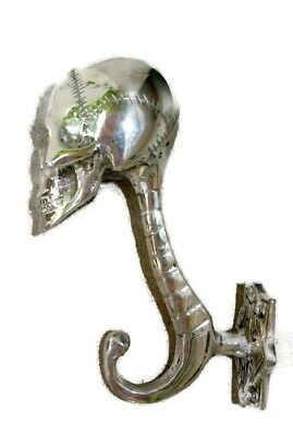 "2 SKULL head 5"" long WALL HOOK heavy BRASS silver 13cm long  SCREW wall spine B 2"
