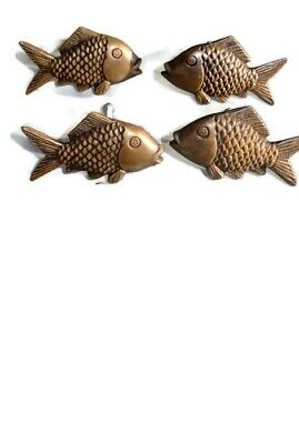 """4 aged ANTIQUE old style FISH Cabinet Door solid 100%Brass KNOB Drawer Pull 2"""" B 2"""
