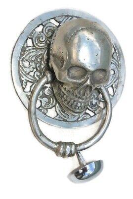 "round SKULL head ring pull Handle sILVER BRASS 4"" day of the dead door KNOCKER B 3"
