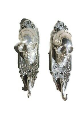 "2 small silver plated SKULL HOOKS BRASS old vintage style antique 6 "" long B 7"