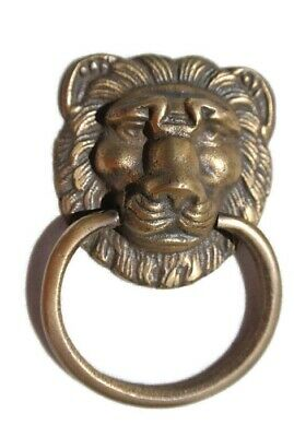 6 LION pulls handles Small heavy  SOLID BRASS old style bolt house antiques 4