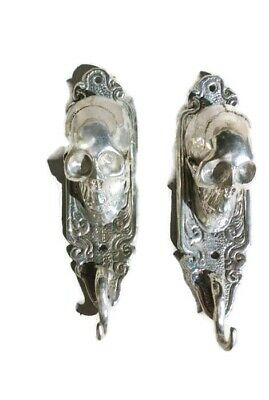 "2 small silver plated SKULL HOOKS BRASS old vintage style antique 6 "" long B 3"