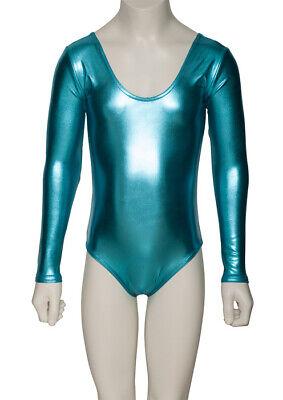 Turquoise Shiny Metallic Dance Long Sleeve Leotard Katz Dancwear KDC029 SECONDS 3