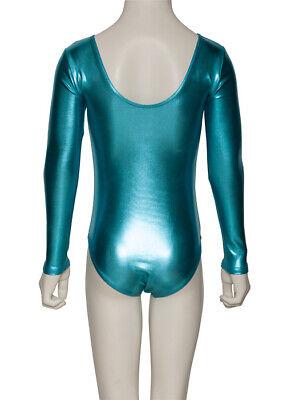 Turquoise Shiny Metallic Dance Long Sleeve Leotard Katz Dancwear KDC029 SECONDS 4
