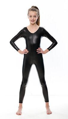 Black Shiny Metallic Dance Fancy Dress Long Sleeve Catsuit KDC017 By Katz 8