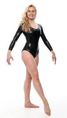 KDC029 Nero Lucido Metallizzato Body Manica Lunga Danza Costume Da Halloween 5