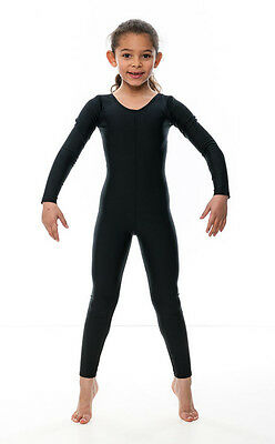 Girls Childrens Black Lycra Long Sleeve Footless Catsuit Unitard KDC017 By Katz 9
