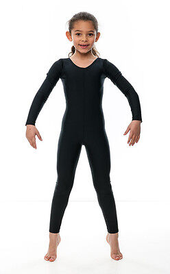 Girls Ladies Black Lycra Long Sleeve Footless Catsuit Unitard All Sizes KDC017 7