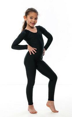 Girls Childrens Black Lycra Long Sleeve Footless Catsuit Unitard KDC017 By Katz 10