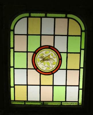 """MIDSIZE OLD ENGLISH LEAD STAINED GLASS Victorian Hand Painted Arch 22 x 26.25"""" 2"""