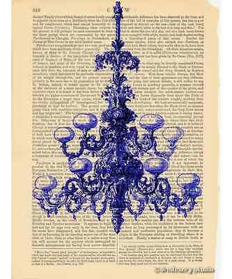 Blue Chandelier Art Print on Antique Book Page Vintage Illustration Fixture